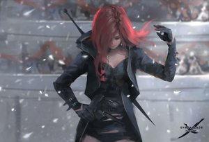 Rating: Safe Score: 150 Tags: ghostblade gloves jpeg_artifacts lenia_(ghostblade) logo long_hair petals red_hair watermark wlop User: RyuZU