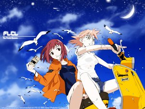 Rating: Safe Score: 14 Tags: flcl haruhara_haruko jpeg_artifacts samejima_mamimi vespa User: happygestapo