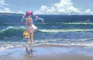 Rating: Safe Score: 112 Tags: barefoot beach boat clouds dress gawain_(artist) hat hololive long_hair minato_aqua purple_hair reflection scenic sky summer_dress twintails water User: BattlequeenYume