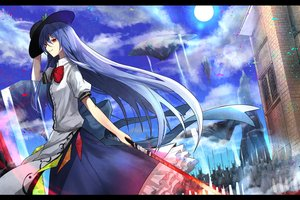 Rating: Safe Score: 77 Tags: armor blue_hair building eisuto hat hinanawi_tenshi long_hair red_eyes skirt spear sword touhou weapon User: Flandre93