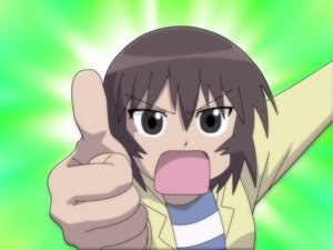 Rating: Safe Score: 6 Tags: azumanga_daioh brown_eyes brown_hair green jpeg_artifacts kagura User: Oyashiro-sama