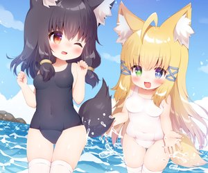 Rating: Safe Score: 41 Tags: 2girls animal_ears bicolored_eyes black_hair blonde_hair blush cameltoe clouds cropped fang foxgirl koma_momozu long_hair original red_eyes school_swimsuit short_hair sky swimsuit tail thighhighs water wink User: otaku_emmy