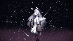 Rating: Safe Score: 121 Tags: anthropomorphism gray_hair kantai_collection long_hair murakumo_(kancolle) night orange_eyes pennel snow tie weapon User: FormX