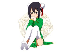 Rating: Safe Score: 120 Tags: black_hair brown_eyes chinese_clothes food k-on! nakano_azusa ragho_no_erika thighhighs white User: C4R10Z123GT