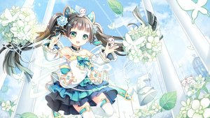 Rating: Safe Score: 24 Tags: animal black_hair bow butterfly cat cat_smile choker clouds dress flowers green_eyes gyaza jpeg_artifacts loli long_hair sky thighhighs twintails zettai_ryouiki User: BattlequeenYume
