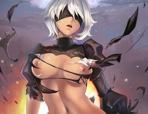 Rating: Questionable Score: 130 Tags: blindfold breasts cropped dantewontdie gloves nier nier:_automata nipples short_hair torn_clothes white_hair yorha_unit_no._2_type_b User: SciFi