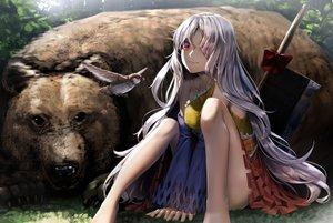 Rating: Safe Score: 63 Tags: animal barefoot bear bird dress gray_hair long_hair red_eyes ryosios sakata_nemuno sword touhou weapon User: luckyluna