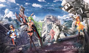 Rating: Safe Score: 153 Tags: blonde_hair blue_eyes clouds dress elbow_gloves gloves gray_hair green_eyes green_hair group headband headphones kagamine_rin long_hair luo_tianyi mecha megurine_luka miku_append navel pink_hair ruins short_hair sky socks thighhighs twintails vocaloid vocaloid_china x_x_(artist) User: FormX