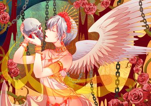 Rating: Safe Score: 31 Tags: chain feng_you flowers gray_hair headdress navel panties short_hair skull tagme_(character) underwear vocaloid wings User: RyuZU