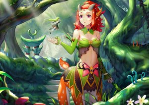 Rating: Safe Score: 48 Tags: breasts cleavage dota_2 enchantress_(dota_2) fairy forest green_hair horns long_hair navel red_eyes red_hair short_hair sonic0_0 tree User: SciFi