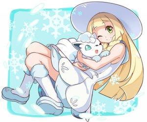 Rating: Safe Score: 44 Tags: animal blonde_hair boots dress green_eyes hat hawe_king lillie_(pokemon) long_hair pokemon vulpix wink User: RyuZU