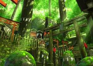 Rating: Safe Score: 64 Tags: building forest green nobody original pei_(sumurai) scenic shrine stairs torii tree User: Flandre93