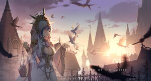 Rating: Safe Score: 55 Tags: animal bird blue_hair breasts building cleavage clouds dress headdress hoodie original red_eyes sky sunset tienao User: BattlequeenYume