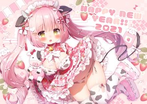 Rating: Questionable Score: 47 Tags: animal_ears bell blush bow breasts cameltoe cleavage collar cowgirl food fruit headdress horns japanese_clothes koma_momozu lolita_fashion long_hair original panties pink_hair signed skirt_lift strawberry tail thighhighs twintails underwear yellow_eyes User: BattlequeenYume