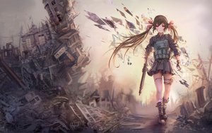 Rating: Safe Score: 181 Tags: brown_hair gloves gun jay_xu original red_eyes twintails weapon User: Shupa