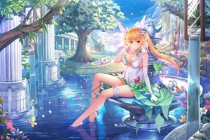 Rating: Safe Score: 80 Tags: breasts butterfly cleavage clouds dress elbow_gloves flowers food fruit garter gloves lemoo long_hair orange_eyes orange_hair original signed sky tree twintails water waterfall User: BattlequeenYume