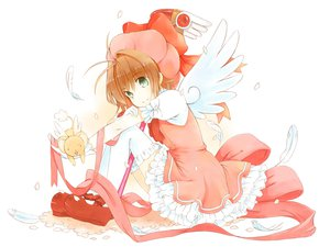 Rating: Safe Score: 67 Tags: brown_hair card_captor_sakura feathers green_eyes hat kinomoto_sakura petals short_hair staff thighhighs white wings User: opai