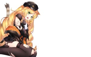 Rating: Safe Score: 59 Tags: animal_ears arknights blonde_hair blush breast_hold breasts catgirl green_eyes hat long_hair omelet_tomato swire_(arknights) tail thighhighs torn_clothes User: RyuZU