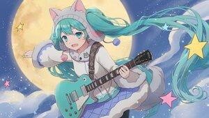 Rating: Safe Score: 18 Tags: aqua_eyes aqua_hair blush clouds guitar hat hatsune_miku instrument long_hair moon night skirt sky stars tagme_(artist) tail twintails vocaloid User: Maboroshi