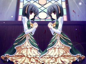 Rating: Safe Score: 79 Tags: black_hair blood cabbit dress game_cg loli lolita_fashion midori_no_umi rikuno short_hair sorane twins yukie User: Wiresetc