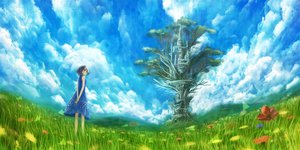 Rating: Safe Score: 71 Tags: bou_nin clouds dress flowers grass scenic sky tagme tree User: opai