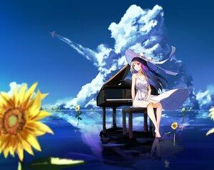 Rating: Safe Score: 59 Tags: barefoot brown_hair dress flowers hat instrument long_hair original piano reflection rei_(farta_litia) summer_dress sunflower User: BattlequeenYume