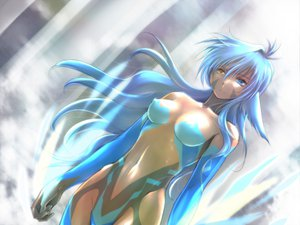 Rating: Questionable Score: 89 Tags: bicolored_eyes blue_hair breasts long_hair tagme User: HawthorneKitty