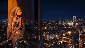 Rating: Safe Score: 77 Tags: blue_hair building city elbow_gloves gloves hatsune_miku long_hair night reflection scenic sky turu twintails vocaloid User: RyuZU