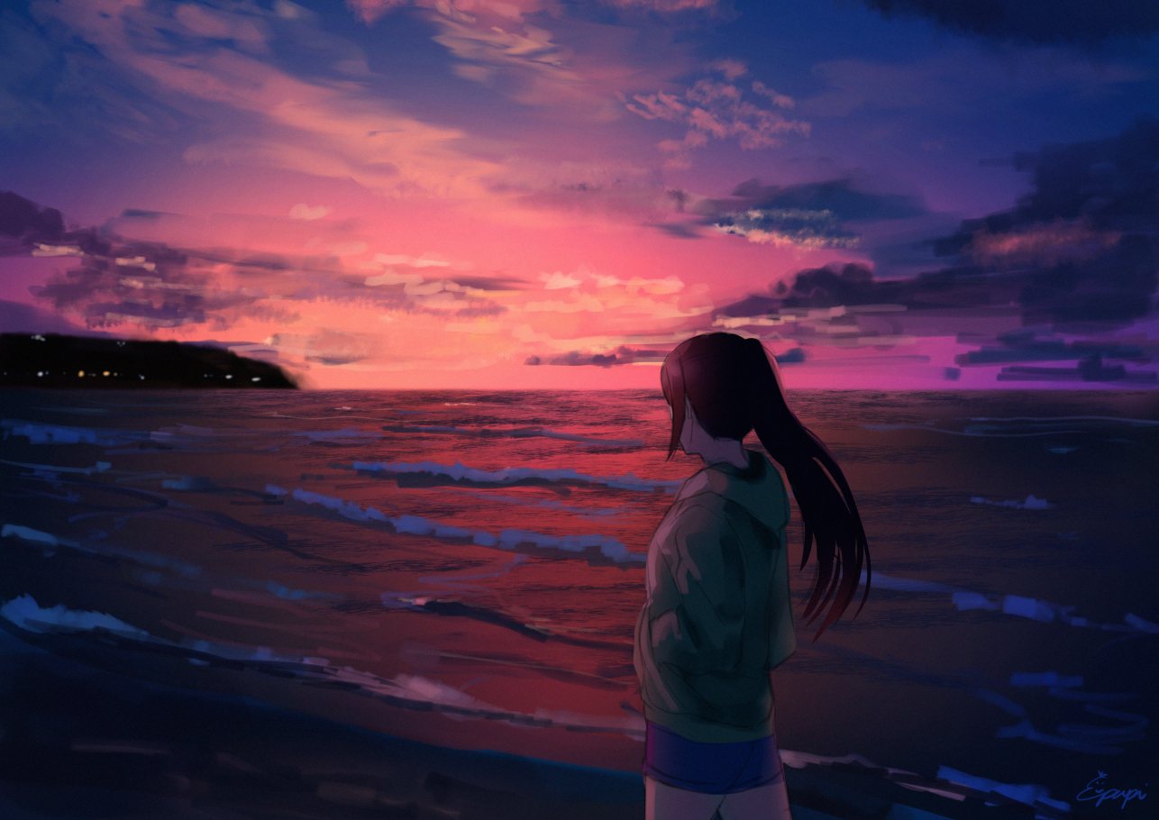 beach hoodie long_hair love_live!_school_idol_project love_live!_sunshine!! matsuura_kanan papi_(papiron100) ponytail shorts signed sunset water