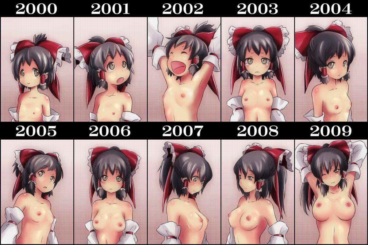 ao usagi black hair blush breasts hakurei reimu japanese clothes loli miko nipples tears topless touhou