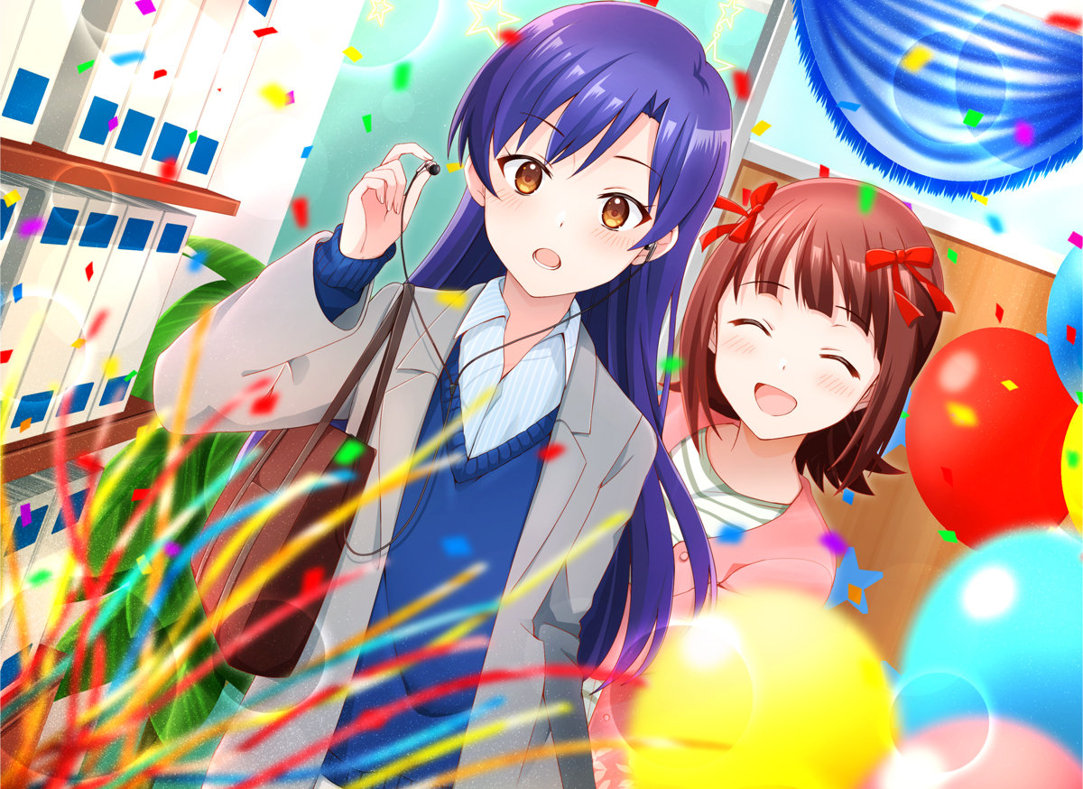 2girls aliasing amami_haruka blue_hair blush bow brown_eyes brown_hair headphones idolmaster kisaragi_chihaya kisaragi_ichigo long_hair school_uniform short_hair
