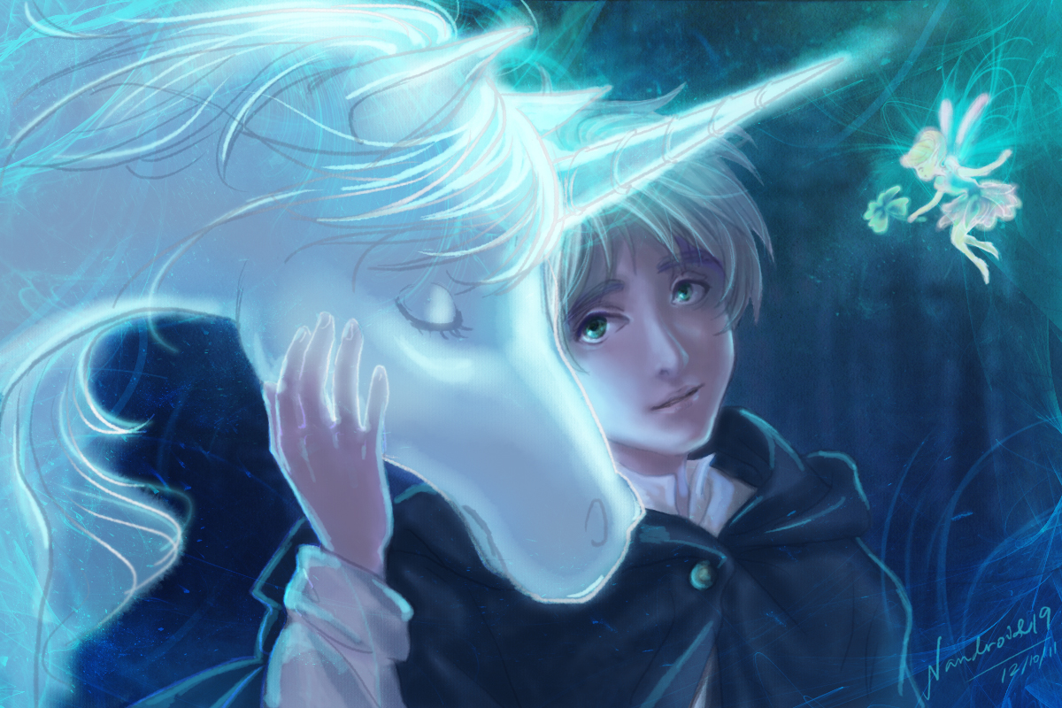 animal anthropomorphism axis_powers_hetalia england_(hetalia) fairy horse male signed unicorn