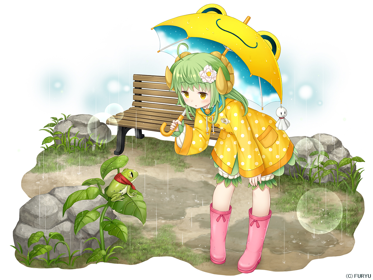animal animal_ears asatsuki_(monmusu_harem) bloomers boots frog grass green_hair hoodie horns loli long_hair monmusu_harem namaru_(summer_dandy) rain umbrella water yellow_eyes