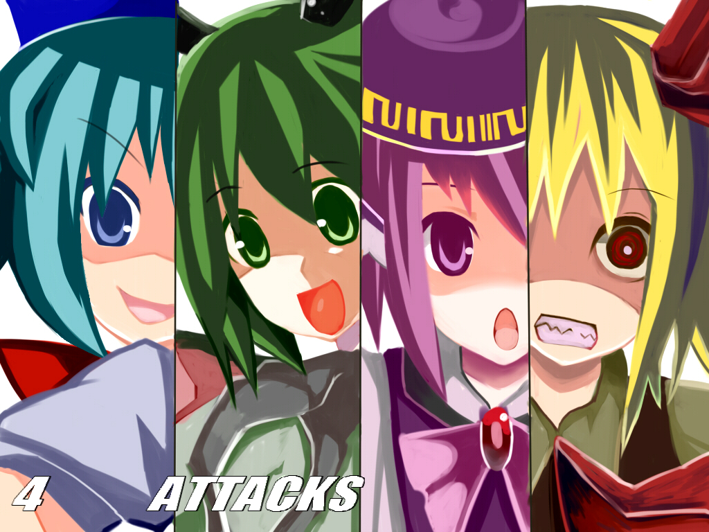 blonde_hair blue_eyes blue_hair cirno disgaea green_eyes green_hair hat mystia_lorelei parody purple_eyes purple_hair red_eyes ribbons rumia short_hair touhou wriggle_nightbug
