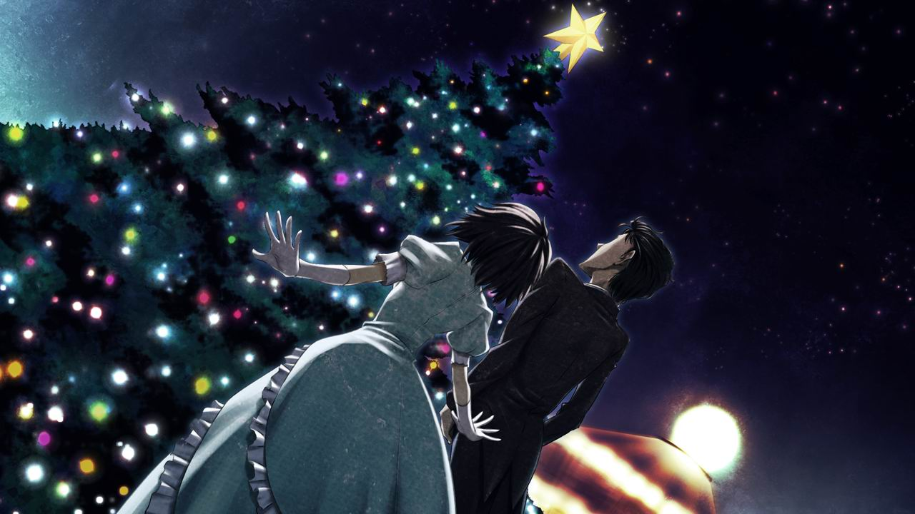 black_hair christmas dress game_cg huke male night okabe_rintarou shiina_mayuri short_hair steins;gate suit tagme tree