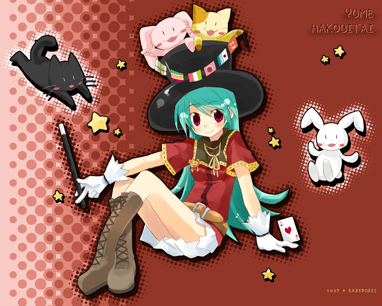 animal blue_hair blush boots cat fugetsu_aoi gloves hat long_hair original red_eyes ribbons teddy_bear