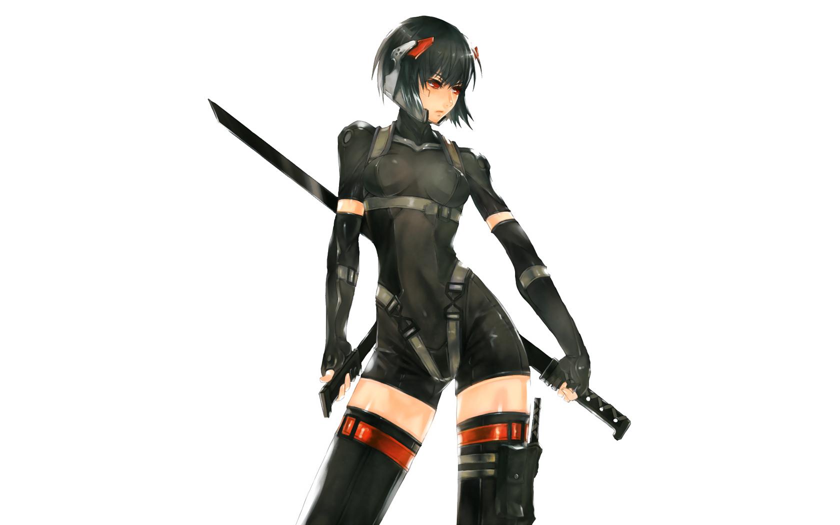 black_hair ghost_in_the_shell kusanagi_motoko metal_gear nidy-2d- parody red_eyes sword thighhighs weapon white zettai_ryouiki
