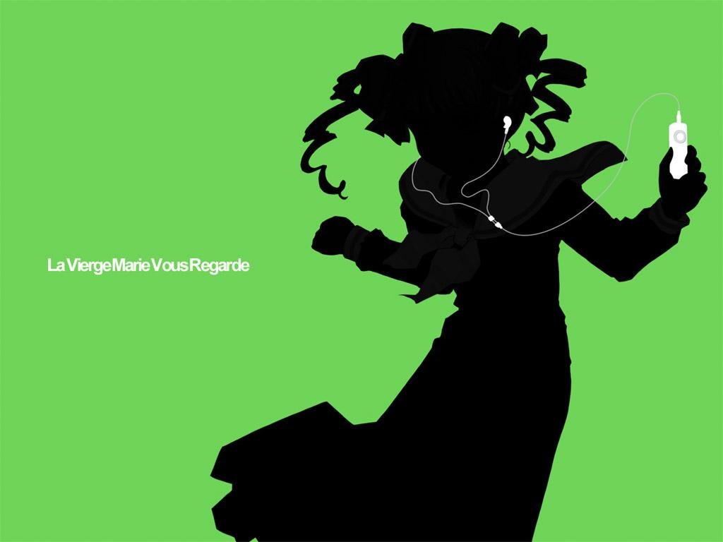 green ipod maria-sama_ga_miteru matsudaira_touko parody silhouette