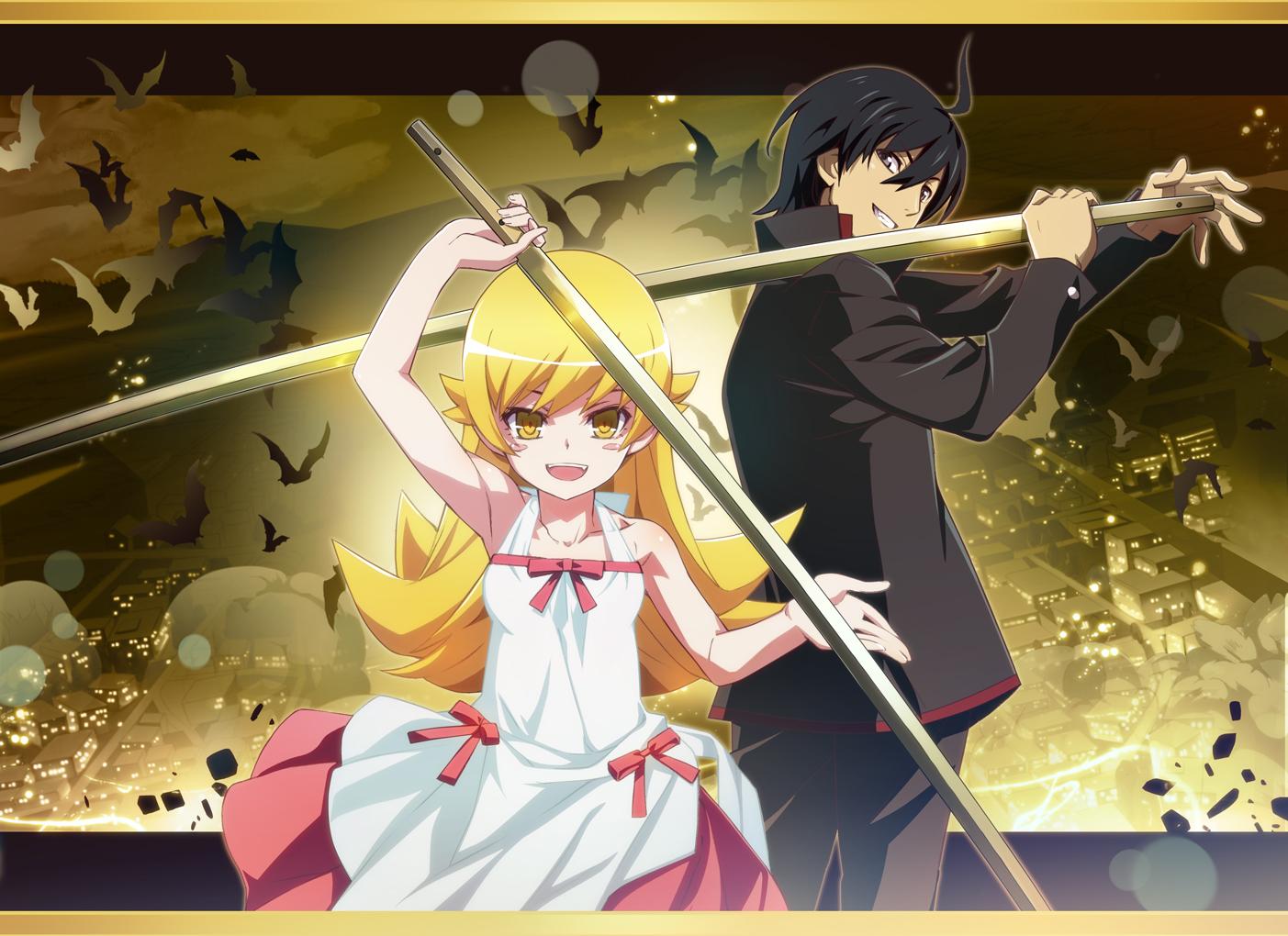 araragi_koyomi bakemonogatari loli male monogatari_(series) nyoronyoro oshino_shinobu vampire