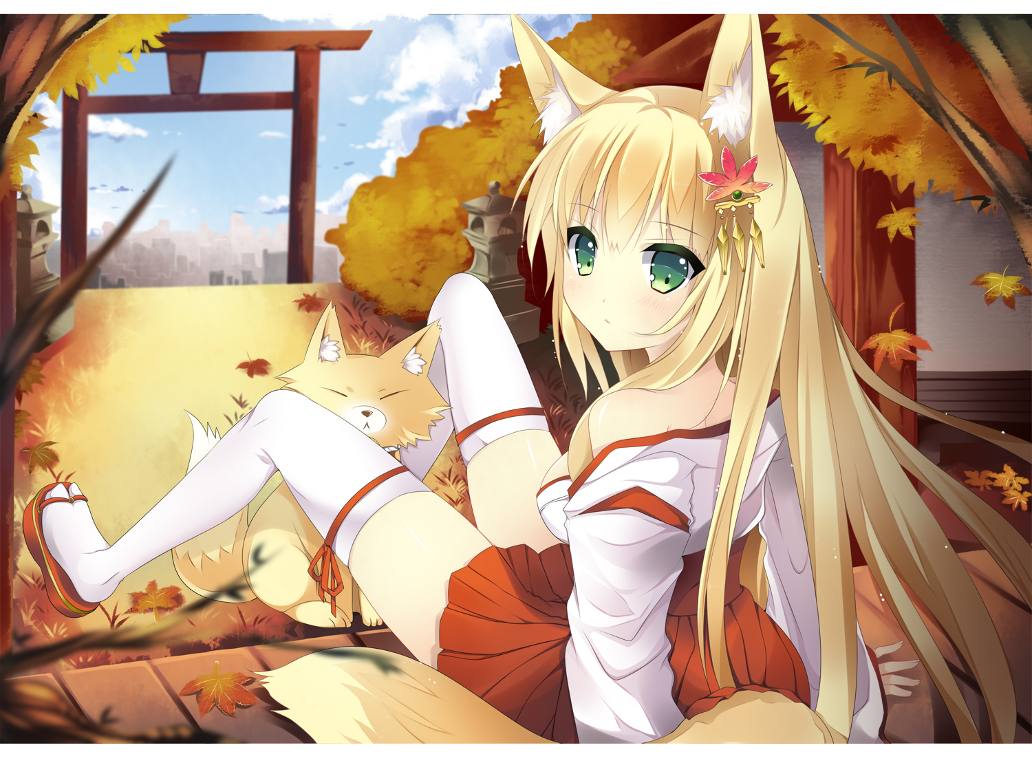 animal animal_ears autumn blonde_hair duji_amo fox foxgirl green_eyes japanese_clothes leaves long_hair miko original tail thighhighs torii