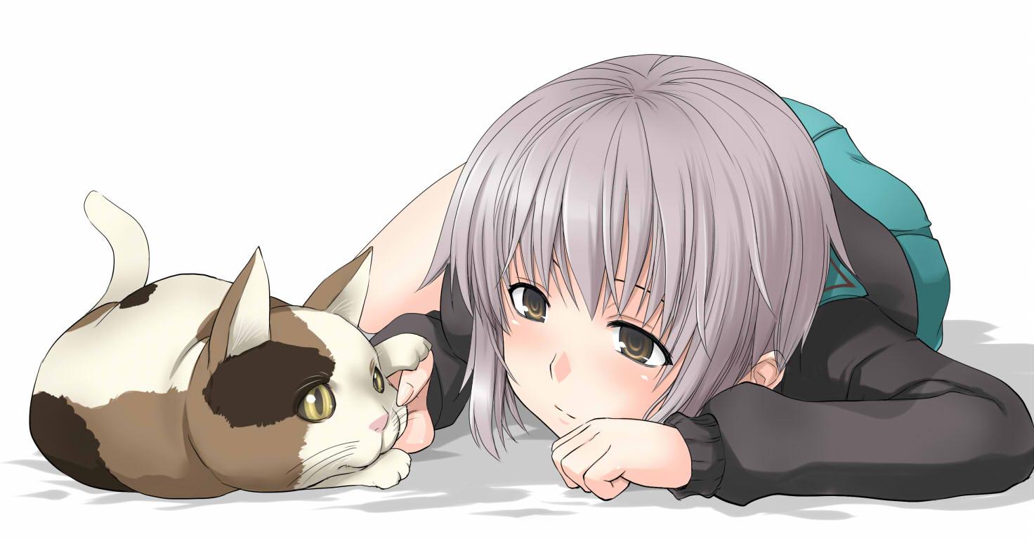 aliasing animal cat denkishowgun nagato_yuki school_uniform shamisen suzumiya_haruhi_no_yuutsu white