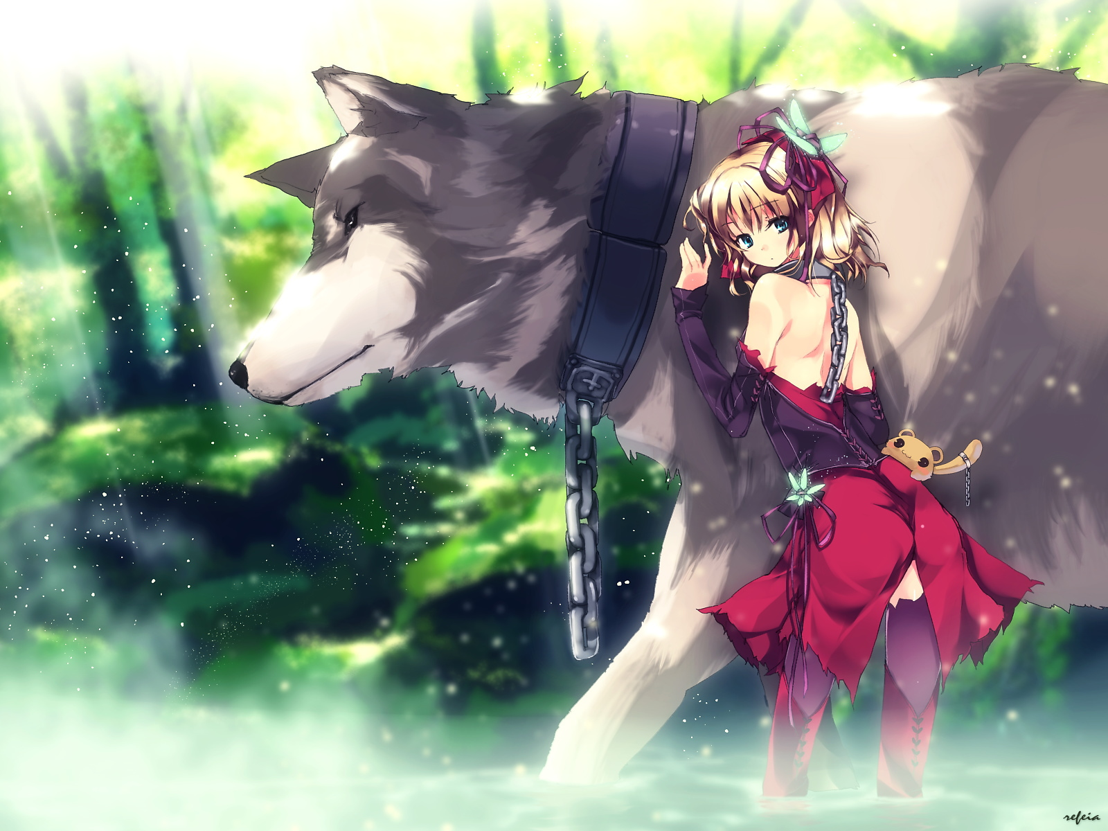 animal blonde_hair boots original refeia short_hair thighhighs water wolf