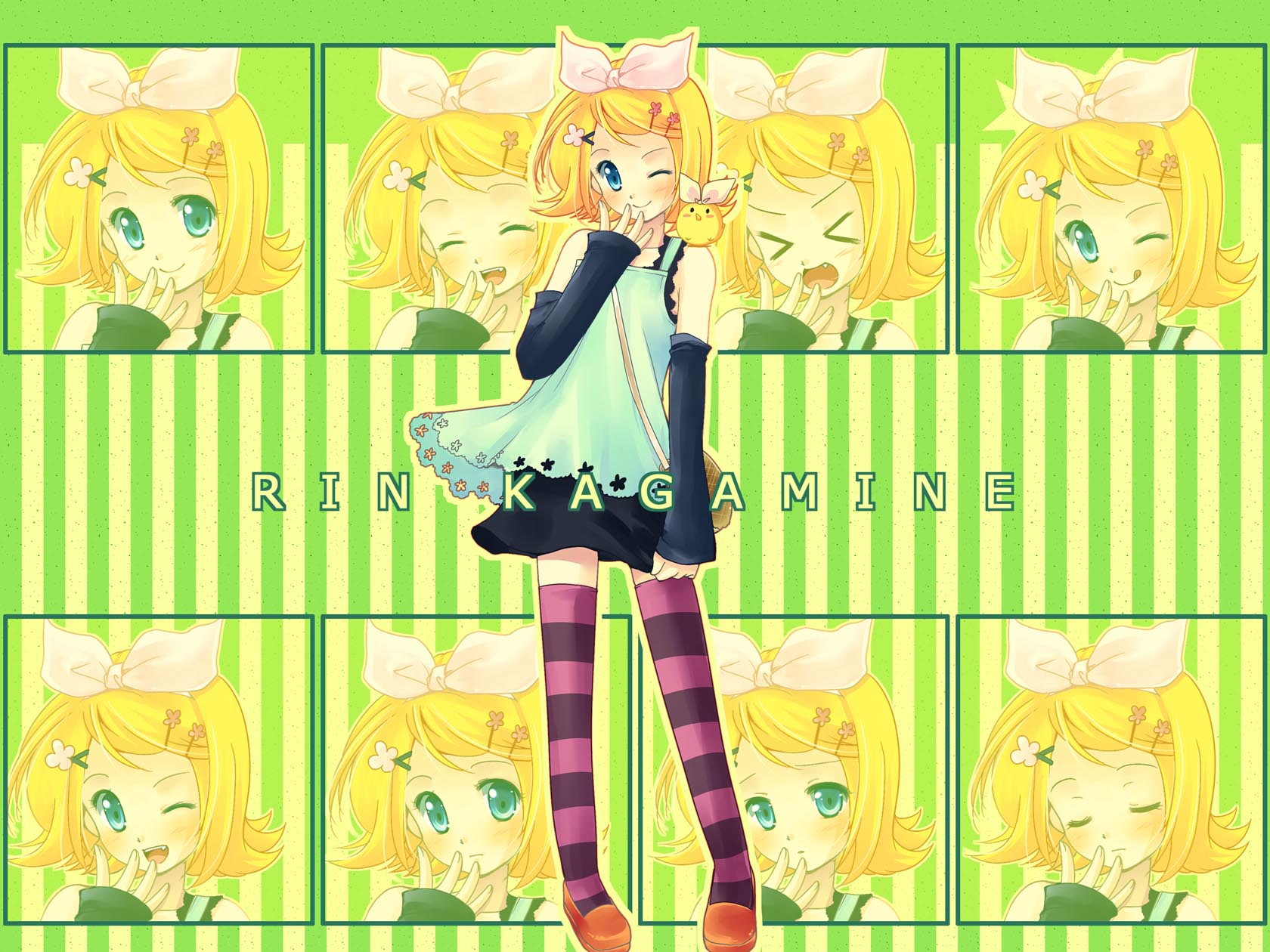 blonde_hair blue_eyes blush fang kagamine_rin ribbons short_hair skirt thighhighs vocaloid wink