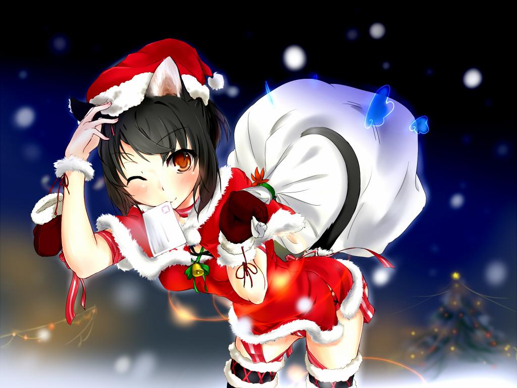 animal_ears bell black_hair blush bow brown_eyes catgirl christmas gloves hat kaede_(artist) original ribbons short_hair tail thighhighs wink