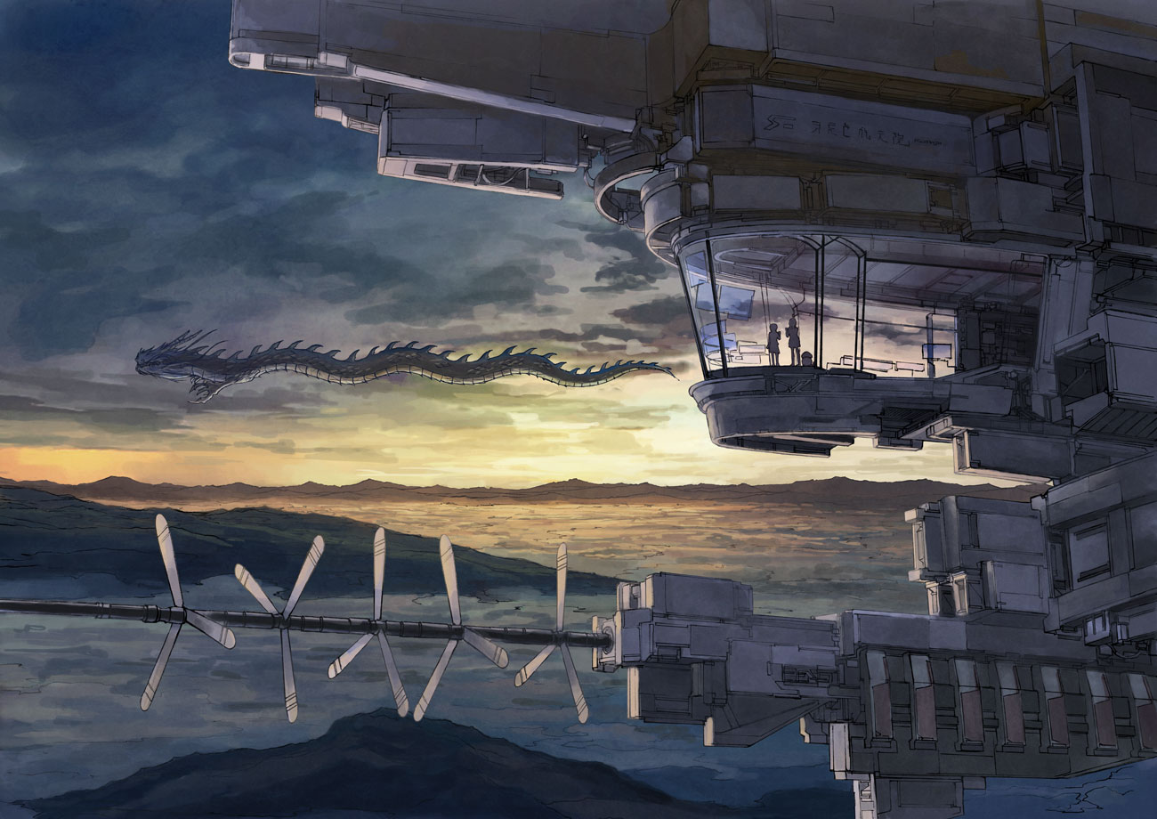 2girls dragon k_kanehira original scenic sky
