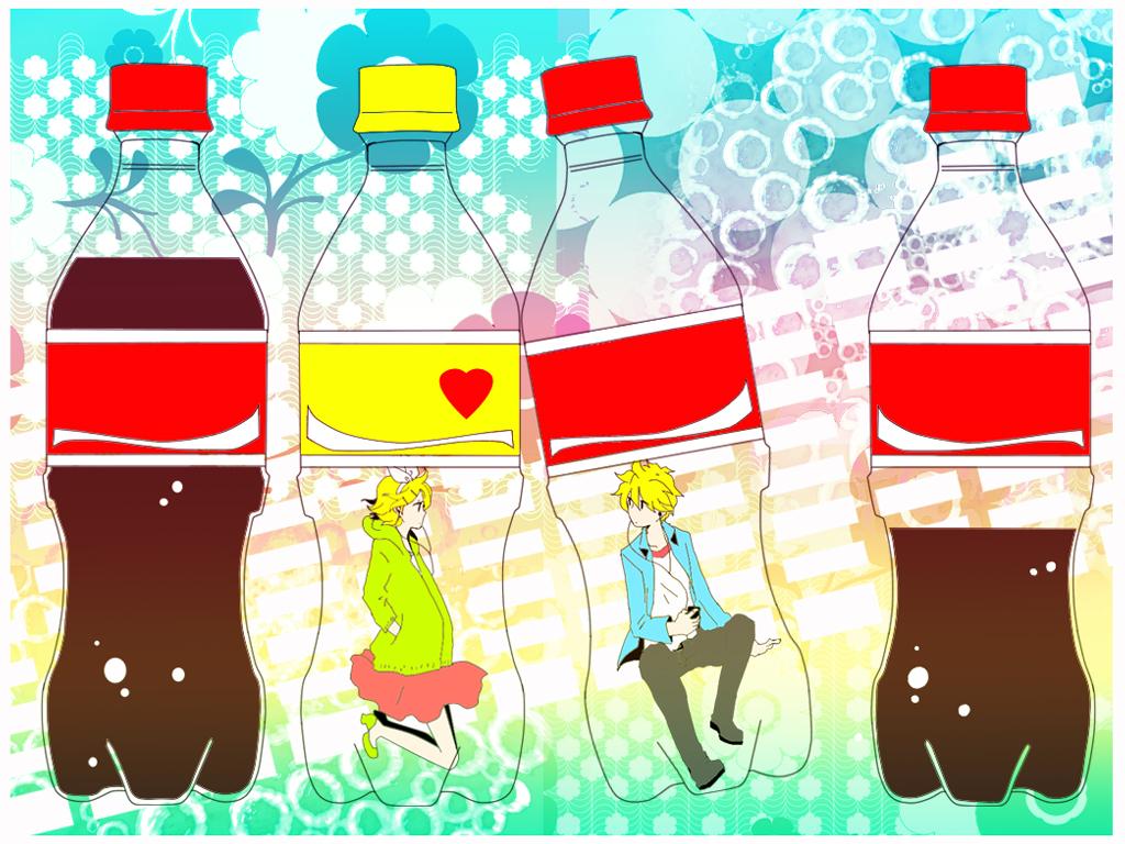 amoko_(chokokorone) coca_cola drink heart kagamine_len kagamine_rin male vocaloid