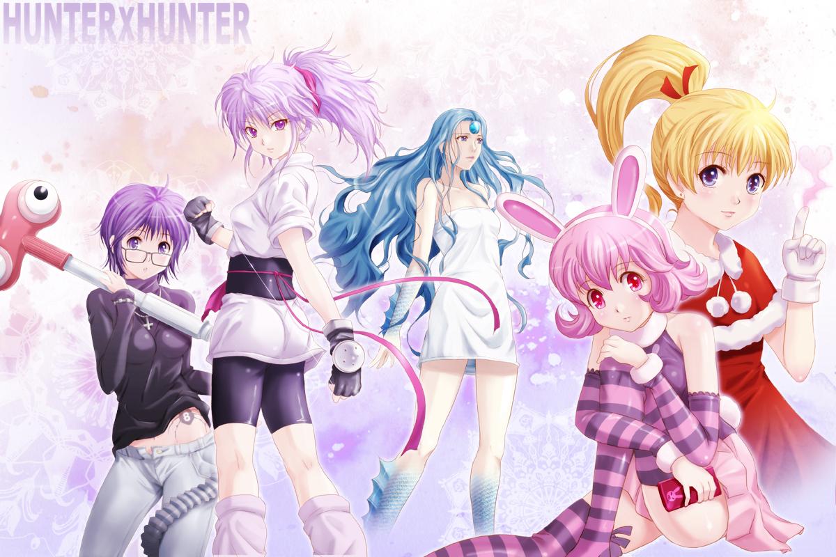 animal_ears biscuit_krueger bunny_ears bunnygirl dress hunter_x_hunter machi_(hunter_x_hunter) palm_siberia_(hunter_x_hunter) pink_hair piyon_(hunter_x_hunter) purple_hair shian_(my_lonly_life.) shizuku_(hunter_x_hunter) tagme tagme_(character)