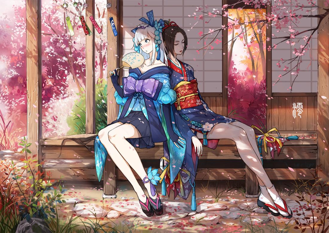 2girls aoandon blush bow brown_hair building elbow_gloves fan flowers gloves grass japanese_clothes jun_ling long_hair onmyouji petals socks tree white_hair youtouhime_(omnyouji) yukata
