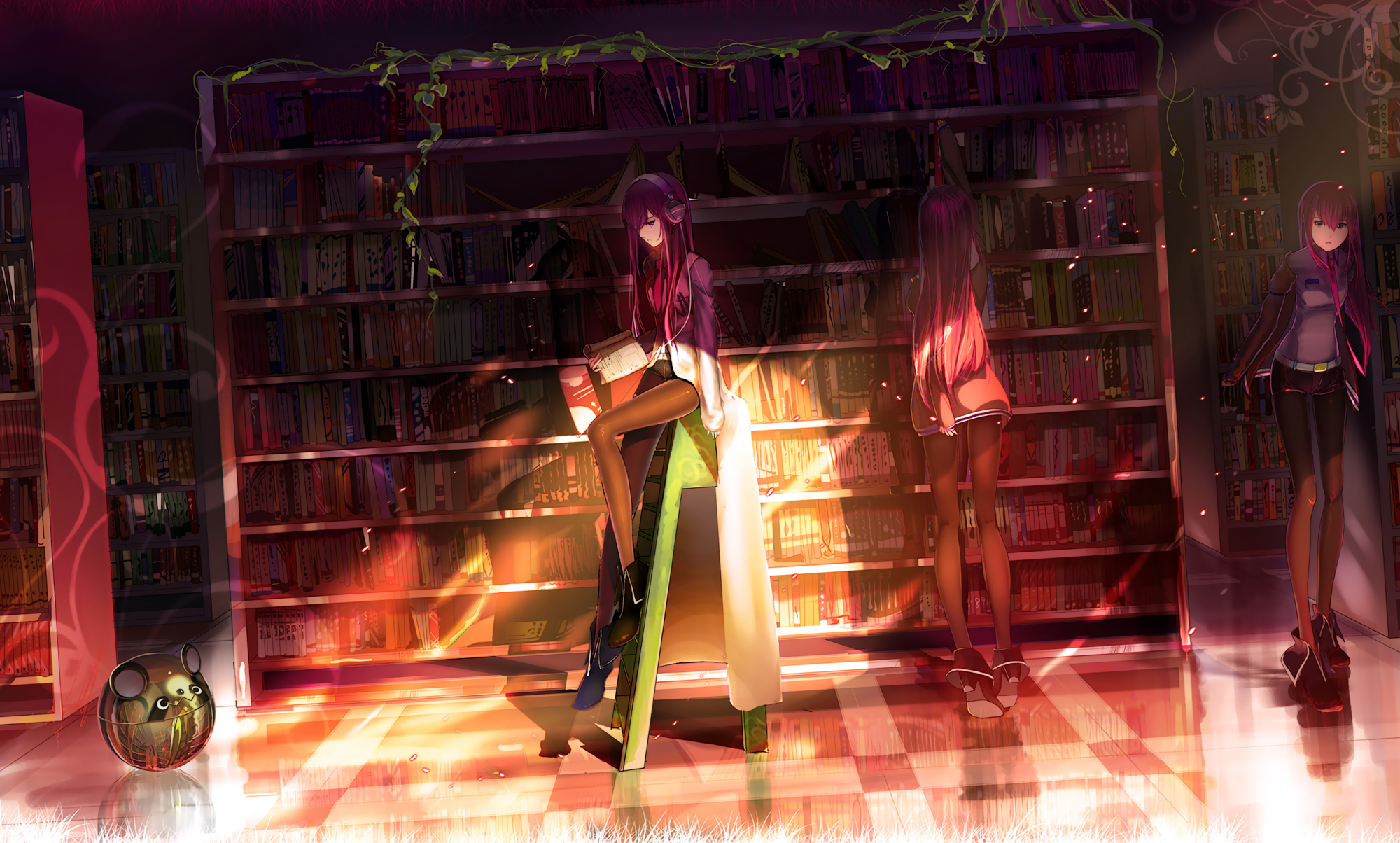book brown eyes cao xiong headphones leaves long hair makise kurisu pantyhose photoshop purple hair reflection shorts steins;gate tie