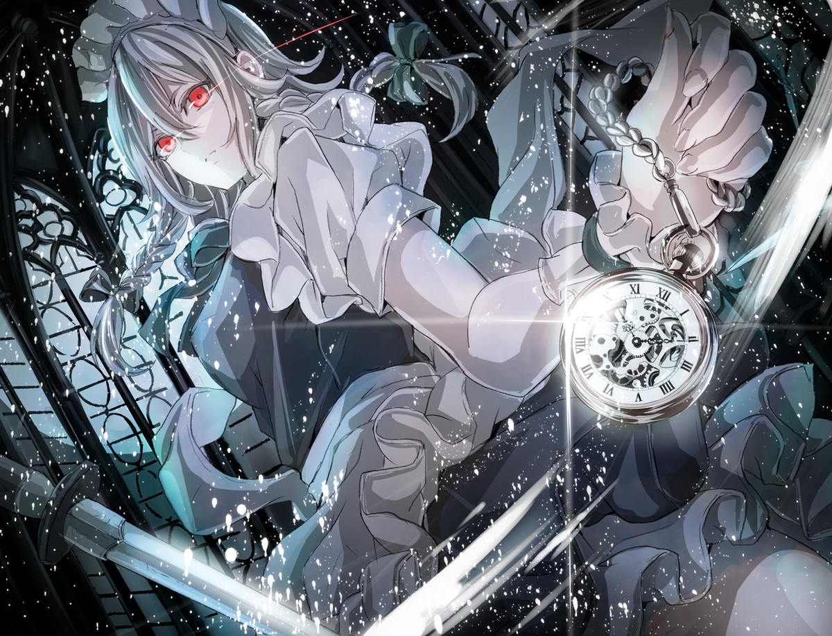 apron bow braids chain gray_hair headdress izayoi_sakuya jan_(lightdragoon) knife long_hair maid red_eyes ribbons touhou weapon wristwear